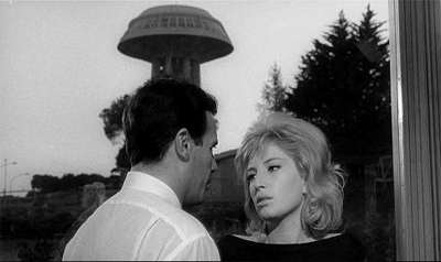 Riccardo, Vittoria and the water tower, Michelangelo Antonioni, L'Eclisse, 1962, film still