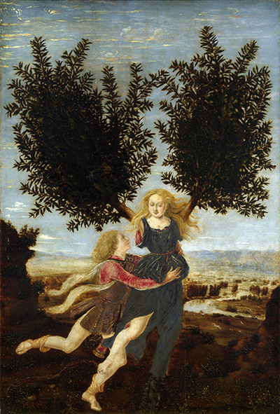 Antonio Pollaiuolo, Daphne and Apollo, ca. 1470-80, oil on wood